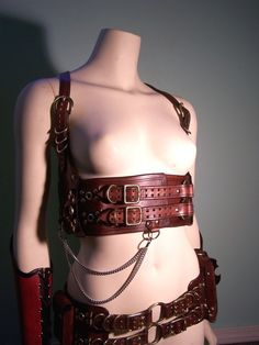 Steampunk Leather Underbust Harness