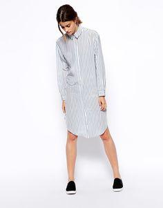 #ASOS WHITE Silk Shirt Dress.