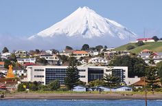 Port Taranaki Headquarters Green Star project with five green stars in Taranaki, New Zealand. Mt Taranaki makes for a towering, magnificent backdrop.