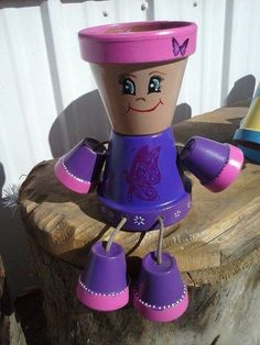 Flower pot people pink and purple by crazycraftingfriends on Etsy, $25.00