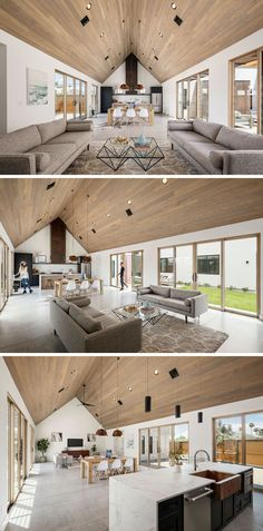 Inside this modernhouse, a large vaulted, tongue and groove hemlock ceiling stands out from the white walls, while the open and spacious room is home to the living room, dining area and kitchen. #ModernInterior #VaultedCeiling #GreatRoom