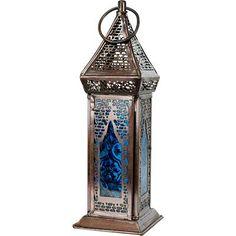 "3 BLUE moroccan pedestal beaded 16"" Candle holder Lantern Lamp light terrace L"