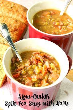 Slow-Cooker Split Pea Soup with Ham will convert even a pea hater, into a pea…