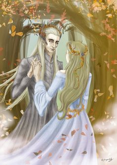 Thranduil and his wife...seriously, you never hear anything about her. It's very strange. It's like Legolas just appeared out of thin air...I guess Tolkien didn't see her as an important character?