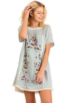 Umgee Women's Light Blue Bohemian Embroidered Short Sleeve Dress or Tunic