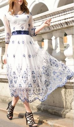 White Floral Embroidery Sheer Mesh Scallop Hem Empire Dress