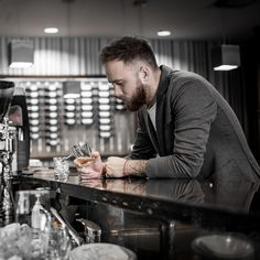 Beard men with tattoo drinking whisky in a bar. Bearded Men, Mens Suits, Whisky, Tattoos For Guys, Drinking, Bar, Collection, Style, Men Beard