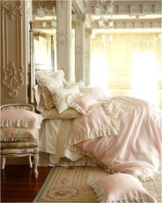 """Pale pink is the most popular color in the shabby chic decorating palette, other than white. {Pink and cream """"Celeste"""" duvet covers}"""