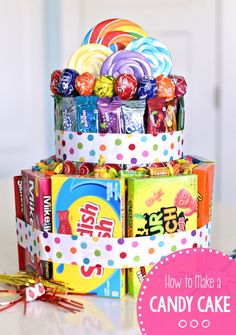 to Make a Candy Cake for Birthdays or Special Occasions! This candy cake is … How to Make a Candy Cake for Birthdays or Special Occasions! This candy cake is the perfect gift for any occasion. Birthday Gifts For Best Friend, Unique Birthday Gifts, Diy Birthday, Birthday Quotes, Birthday Gifts For Kids, Birthday Presents, 60th Birthday Party Decorations, Candy Birthday Cakes, Candy Bouquet Diy