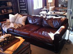 perfect mancave leather sofa in tobacco