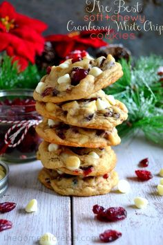The BEST Soft & Chewy Cranberry White Chip Cookies! Festive and delicious, no one will be able to resist the irresistible pairing of tart, bright cranberries and sweet white chocolate chips. The perfect holiday cookie! White Chocolate Cranberry Cookies, White Chocolate Chips, Cranberry Dessert, White Choc Chip Cookies, Macadamia Nut Cookies, Cranberry Muffins, Almond Cookies, Holiday Baking, Crack Crackers