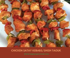 Chicken Satay Kebabs/ Shish Taouk is a traditional and popular marinated skewered chicken of Middle Eastern cuisine. Chunks of tender juicy chicken is marinated in earthy spices, yogurt, lemon juice and garlic, is grilled and served with pita bread or rice.