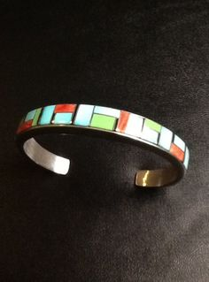 ZUNI Turquoise Inlay SOLID sterling silver Cuff Bracelet Genuine blue and green Turquoise, coral shell, and ONYX Native American Jewelry