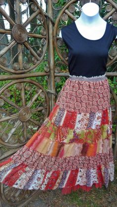 Shades of orange 6 tiered gypsy broomstick skirt by LamplightGifts, $19.75