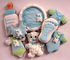 Baby-boy shower cookies | Cookie Connection; love the bears and the idea of the birth date on the foot