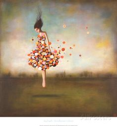 Vrouw met jurk van bloemen, titel: Boundlessness in Bloom Kunst van Duy Huynh bij AllPosters.nl