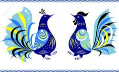 Two Dancing Fairy Birds In The Gorodets Painting Style Royalty ...