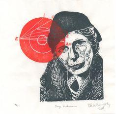 New to minouette on Etsy: Inge Lehmann and the Earth's Core Linocut - Seismologist Geophysicist Woman in STEM Lino Block Portrait History of Science Inge Lehmann (35.00 USD)