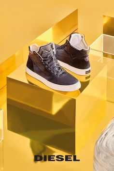 Fur him. You will be spoiled for choice this holiday gift-giving season.  Iconic Diesel 'V' panel gives these leather high-top sneakers distinctive edge. Show them off during your holidays