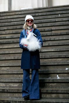 Natalie Joos in denim and fur trim. Photo: Imaxtree