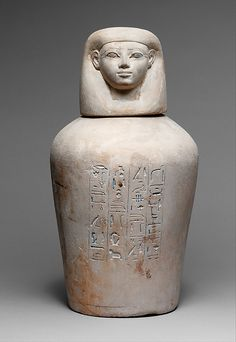 Canopic Jar of Manuwai  Period: New Kingdom Dynasty: Dynasty 18 Reign: reign of Thutmose III Date: ca. 1479–1425 B.C. Geography: Egypt, Upper Egypt; Thebes, Wadi Gabbanat el-Qurud, Tomb of the 3 Foreign Wives of Thutmose III, Wadi D, Tomb 1 Medium: Limestone, blue paste