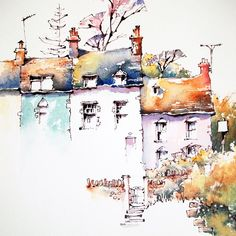 Jeanette Clarke Art: Sussex Cottages - New Sites Watercolor Painting Techniques, Watercolor Sketchbook, Watercolor Landscape Paintings, Pen And Watercolor, Watercolor Illustration, Landscape Art, Painting & Drawing, Art Paintings, Watercolor Trees