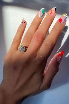 Best Acrylic Nails, Acrylic Nail Designs, Oval Nail Designs, Acrylic Nails Pastel, Stylish Nails, Trendy Nails, Nail Design Glitter, Nails Design, Nagel Hacks