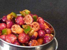Cranberry Pickle (Cranberry Achar) ♦ Fresh Cranberry – 12 oz Jalapenos – 8 oz (approx 6 large) Carrots – 6 oz Pickle Masala – 4 tbsp (1/4 cup) Salt – to taste Red Chili Powder – to taste Oil – 4 tbsp (1/4 cup) **SVD**