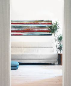 XL Abstract painting  Red and Blue Landscape   door RonaldHunter, $399.00