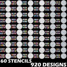 Nail Airbrush Kits and Supplies: Sets 1, 2, 13 920 Airbrush Nail Art Stencil Designs 60 Circle Template Sheets Kt BUY IT NOW ONLY: $48.99