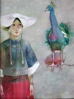 """Xue Mo est né en Mongolie Intérieure en 1966 et réside et travaille actuellement à Beijing. Les portraits de femmes de Xue Mo frappent part l'attitude rêveuse et le mystère enivrant de ces """"Mona Lisa"""" chinoises.... Xue MO révèle la beauté exquise de la peau et les textures des vêtements."""