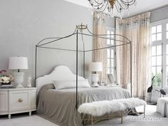 Melanie Turner Interiors // Atlanta Homes & Lifestyles // September 2013 Gray Bedroom, Master Bedroom, Bedroom Decor, White Bedrooms, Serene Bedroom, Gray Bedding, Modern Bedroom, Bedroom Wall, Beautiful Bedrooms