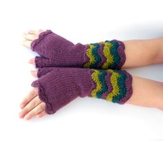 Gloves – Maroon Fingerless Knitted & Crocheted Hand ... – a unique product by GlovesAndMittens on DaWanda
