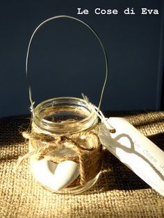 """the babyfood jar idea we talked about for hanging Maddie's flameless tealights in her dorm nook...use her bailing wire...and make """"curls""""...sans the burlap or other embellishments."""