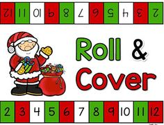 Add a fun game to your math centers with this free Christmas roll and cover. Here is a free printable Roll and Cover game with Santa! Christmas Math, Preschool Christmas, Christmas Activities, Christmas Ideas, Christmas Worksheets, Christmas Patterns, Toddler Christmas, Winter Christmas, Kindergarten Math Games