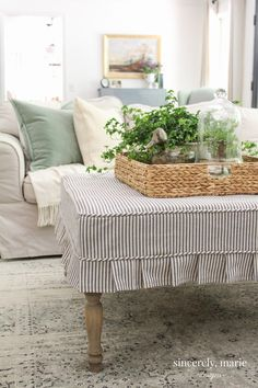Pleated Ottoman Slipcover How-To - Sincerely, Marie Designs