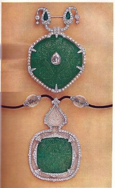 Cartier Paris Belle Epoque Diamond, Emerald and Rock Crystal Brooch and Pendant - Clive Kandel - Cartier Collection
