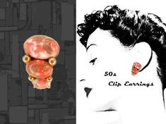 Funky Vintage Clip On Earrings 50s to 60s Retro Curvy Clipons Coral Gold Mid Century Earring Set with Restored Ear Clips in Jewelry Gift Box
