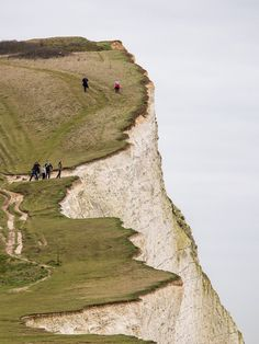 Seaford, England People on cliff (by J_Fish)