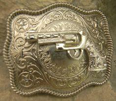 Gun Pistol Belt Buckle Mens Womens Antique Silver