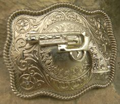 Gun Belt Buckle, Silver Gun Belt Buckle, Pistol Rhinestone Gun Western Engraved Womens Mens Belt Buckle, Medallion,  Rhinestone Belt Buckle