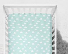 Fitted Crib Sheet Clouds in Pale Sky Blue. Minky Fitted Sheet. Sky Blue Baby Bedding. Toddler Sheet. Cloud Crib Sheet.