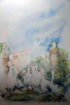 scenes de vie aquarelles bordin serge scenes de vie