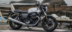 Moto Guzzi has released another model in the growing III lineup that sports a chrome fuel tank and polished parts called III Carbon Shine. Moto Guzzi Motorcycles, Custom Motorcycles, Bobbers, Guzzi V7, Carbon Cycle, Black Leather Belt, Royal Enfield, Carbon Fiber, Motorbikes