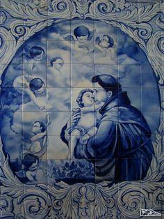 Azulejos portugueses do Mosteiro de Santo Antonio, no Rio de Janeiro - RJ Portuguese Culture, Portuguese Tiles, Johann Wolfgang Von Goethe, Catholic Saints, Blue China, Mother Mary, Religious Art, Bunt, Glazed Ceramic Tile