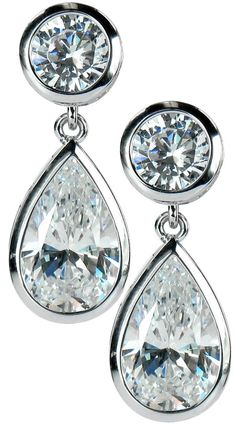 Giorgio bezel set pear and round cubic zirconia dangle drop earrings in gold by Ziamond. Thing 1, Sterling Silver Jewelry, Jewelry Sets, Dangle Earrings, White Gold, Bling, Gemstones, Pear Diamond, Diamond Jewelry