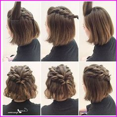 Frisuren für kurze Haare: Halber Pferdeschwanz geflochten, Frisuren für kurze Haare: Halber Pferdeschwanz geflochten Pensez à chicago fameuse « petite robe noire Short Hair Styles Easy, Braids For Short Hair, Girl Short Hair, Medium Hair Styles, Curly Hair Styles, Wavy Hair, Thick Hair, Short Hair Ponytail Hairstyles, Cute Short Hairstyles