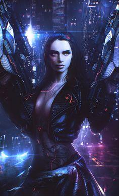 Black, Roman Polyakov on ArtStation at https://www.artstation.com/artwork/V8XZX Sexy Female Sci Fi - More at https://pinterest.com/supergirlsart/ #cyberpunk #girl #art