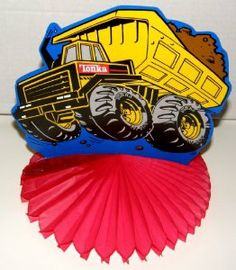 "Tonka Dump Truck Honeycomb Centerpiece 8-9/16"" by Tonka. $0.01. Party supply. Stands 8"" tall. Tonka dump truck. 8-9/16"" in diameter. Celebrate your youngster's birthday with this Tonka Truck Honeycomb Centerpiece.  Centerpiece measures 8"" in diameter and 8"" tall.   Centerpiece is brand new in sealed package."