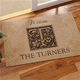 Floral Monogram Personalized Doormat - Great way to welcome guests to a new home.